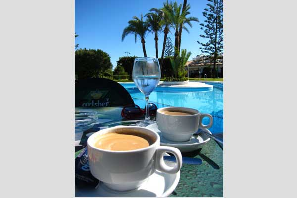 Morning coffee at the restaurant by the pool